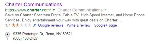 Charter Reviews on Google